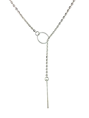 Dastan Silver Plated Link Pendant Y Hoop Necklace Ajustable Long Chain Gold Plated