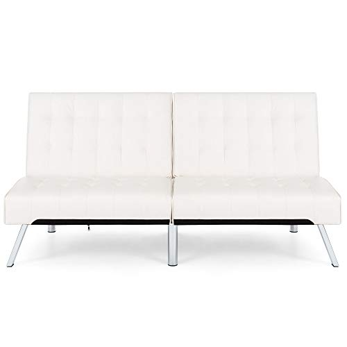 Best Choice Products Modern Leather Futon Sofa Bed Couch Recliner Lounger Sleeper w/ Chrome Legs - White ()