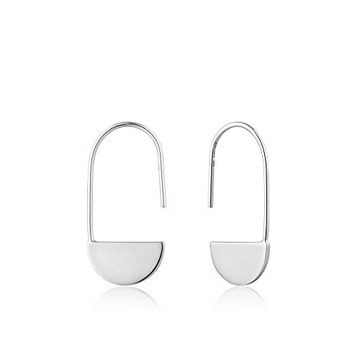 925 Sterling Silver Minimalist Endless Infinity Geometric Pin Earrings for Women, White Rhodium