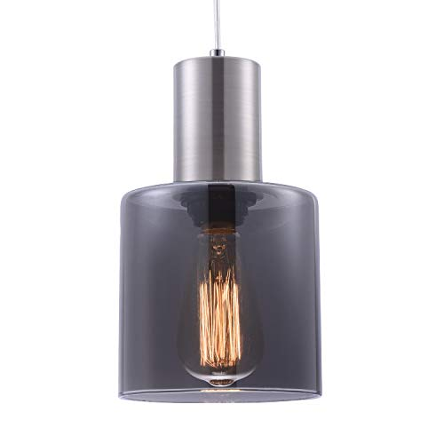 Contemporary Pendant Light with Unique Design Elegant Mirror Black Glass Shade,Adjustable Vintage Edison Mini Pendant Lighting for Kitchen Island Bar Cafe,Brushed Nickel Finish