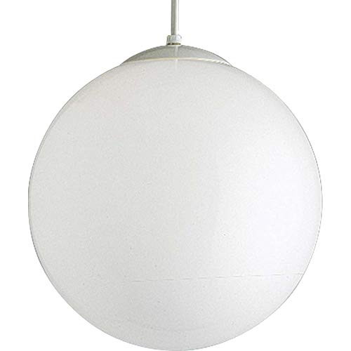 (Progress Lighting P4406-29 Opal Cased Globes Provide Evenly Diffused Illumination White Cord, Canopy and Cap, Satin White )