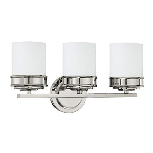 Langdon Mills 10256 Abbey 3-Light Bathroom Vanity Light, Polished Nickel