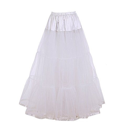Ankle Length Gown - Petticoat Lightweight Ankle Length Bridal Wedding Long Dress Slips (S/M, White)