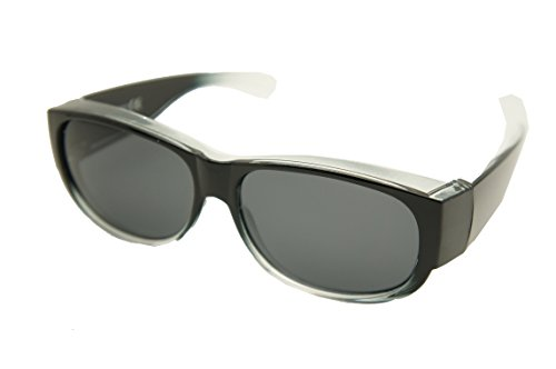 #1 Sale Fitover Lens Covers Sunglasses Wear Over Prescription Glass Polarized St7659pl (Medium: shiny black fade / polarized smoke lenses)