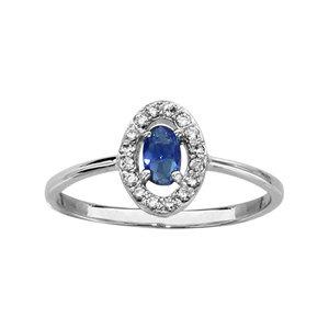 1001 Bijoux - Bague argent rhodié forme ovale verre bleu foncé entourage oxydes blancs sertis