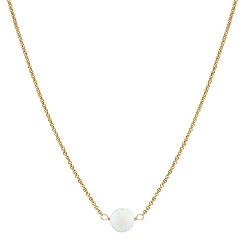 Gold Plated Sterling Silver Solitaire Opal Choker Necklace by Gold & Honey 1995