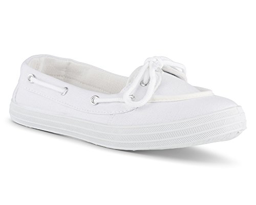 Twisted Women's Champion Casual Canvas Boat Shoe - WHITE, Size 10