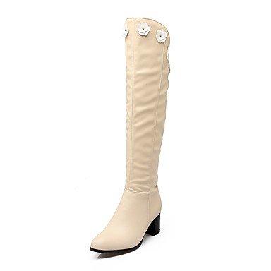 Heart&M Mujer Zapatos Semicuero Otoño Invierno Botas de Moda Botas de Equitación Botas Tacón Robusto Dedo redondo Sobre la Rodilla Para Casual black