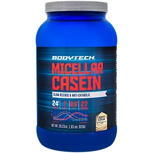 BodyTech Micellar Casein Protein Powder, Slow Release for Overnight Muscle Recovery 24 Grams of Protein per Serving Cookies Cream (1.86 Pound)