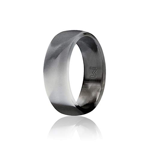 WIGERLON Mens Silicone Wedding Ring &Rubber Wedding Bands Width 8mm Color Black Camo Size - Hammered Wedding Diamond Band
