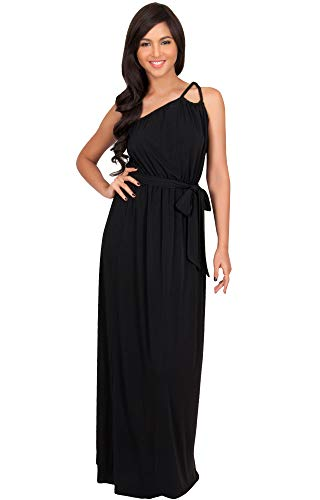 KOH KOH Plus Size Womens Long Sleeveless One Shoulder Cocktail Evening Formal Bridesmaid Bridal Wedding Party Summer Sexy Cute Maternity Gown Gowns Maxi Dress Dresses, Black XL 14-16