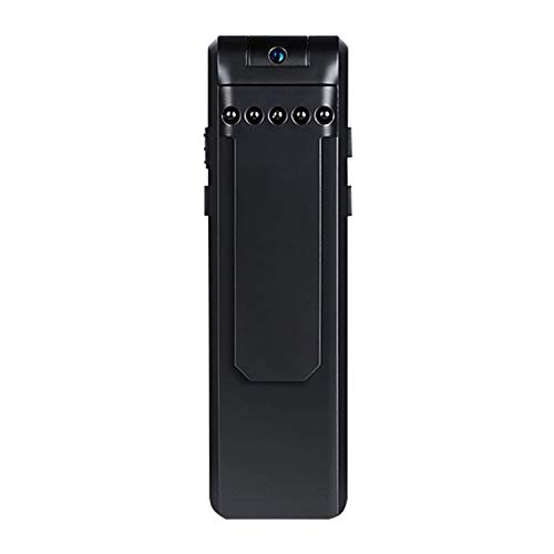 ConsumerrssYHM Back Clip Design 1080P HD Camera Voice Control Recording Machine, Support Motion Detection, Infrared Night Vision, 180 Degrees Rotation Camera, TF Card(Black)