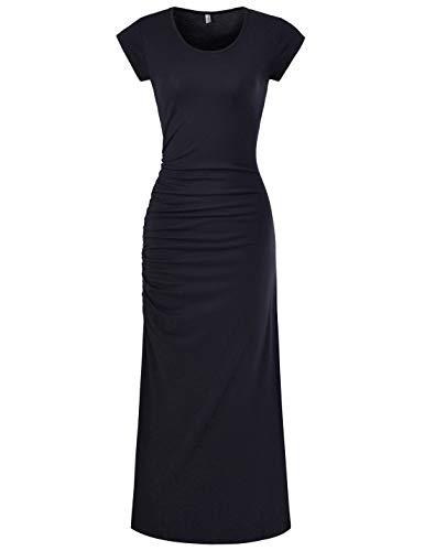 NEARKIN (NKWBD906 Womens Cap Sleeve Side Shirring Casual Maxi Dress Black US L(Tag Size XL)