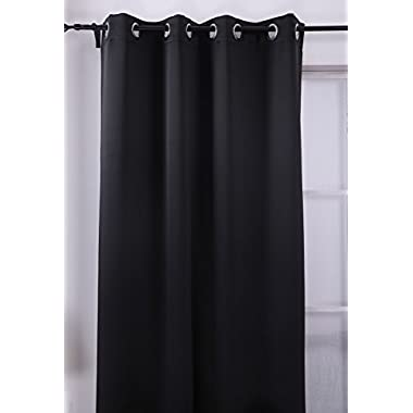 Deconovo Black Thermal Insulated Blackout Panel Curtain 52 By 84 Inch