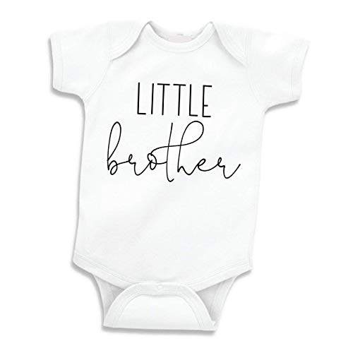 Little Brother Shirt, for Boys, Baby Announcement (0-3 Months) Black