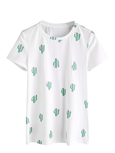Romwe Women's Casual Tunic Top Plant Logo Allover Cartoon Cacti Cactus Graphic...