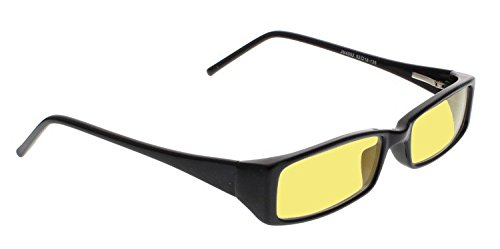 Night Driving Glasses with Canary Yellow Polycarbonate Double Sided Anti-reflective Coating, Scratch Coating and Uv Protection - Plastic Frame - - Glasses Vs