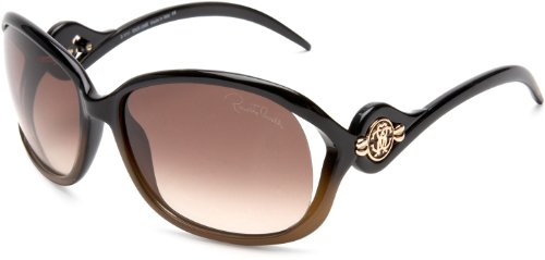 Roberto Cavalli Womens RC576SSW05F Rectangular Wrap Sunglasses,Black Frame/Brown Lens,One - Cavalli Sunglass