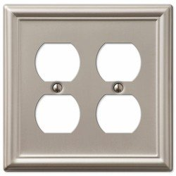 (Decorative Wall Switch Outlet Cover Plates (Brushed Nickel, Double Duplex))