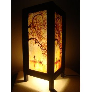 e Asian Oriental Handcraft China Fisherman Red Sakura Cherry Blossom Tree Branch Bedside Table Lights or Floor Wood Paper Lamp Home Decor Bedroom Decoration Modern Design from Thailand (Cherry Paper Floor Lamp)