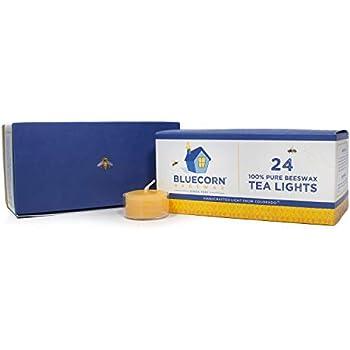 Bluecorn Beeswax 100% Pure Beeswax Tea Lights (24 case, Raw)