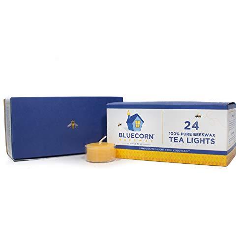 Pure Soy Tealights - Bluecorn Beeswax 100% Pure Beeswax Tea Lights (24 case, Raw)
