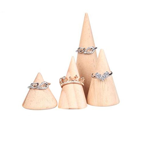 BOCAR Natural Wood Cone Ring Display Stand Organizer Holder 4PCS Different Size(MT-YZ)