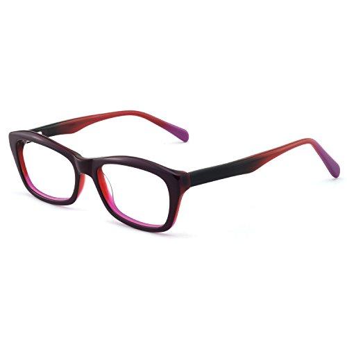 - OCCI CHIARI Fashion Rectangular Eyewear Frame Eyeglasses Optical Frame Clear Lens Glasses for Women (Deep purple)