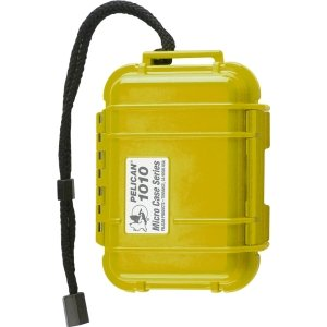Pelican Yellow 1010 Micro Case with Clear Lid and Carabiner, Outdoor Stuffs