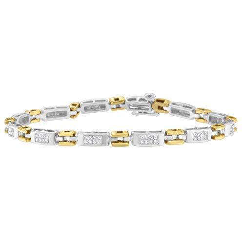 (Original Classics 10K Two-Tone Gold Princess Cut Diamond Geo Link Bracelet (1.00 cttw, H-I Color, SI1-SI2)