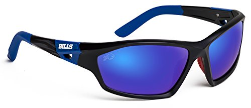 Officially Licensed NFL Sunglasses, Buffalo Bills, 3D Logo on Temple - 100% UVA, UVB & UVC - Bills Sunglasses