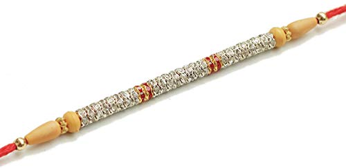KrazyCraft Rakhi Gift for Brother Rakhis with Multicolor Stone Bracelets/Bands with Wooden Beads Red Thread Rakhi for Loving Brother/Bro/Sibling/Bhai (Silver Bracelet For Baby Boy In India)
