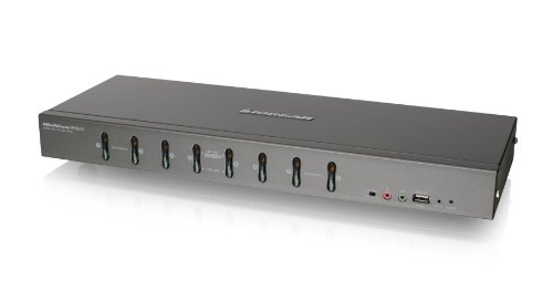 IOGEAR 8-Port Rackmount DVI and VGA KVMP Switch with 2-DVI-D USB KVM Cables, TAA Compliant, GCS1108