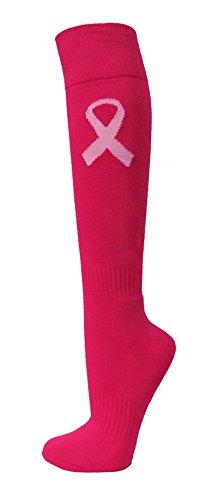 Couver Knee High Cotton Baseball, Softball, Multi-Sports Socks(Hot Pink w/Ribbon L)