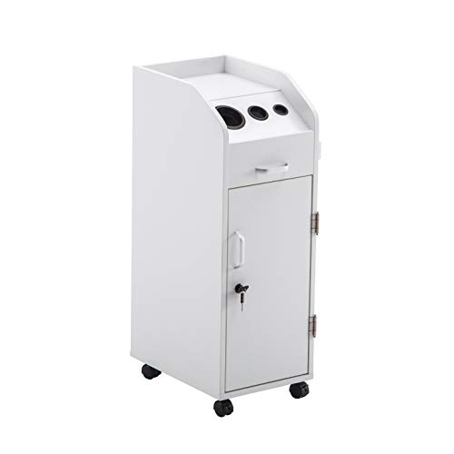 BarberPub Beauty Salon Trolley Storage Cart Hair Dryer Holder Stylist Equipment with Lockable Rolling Wheels, Drawer (White)