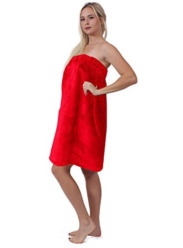 Turkuoise Women's Turkish Cotton Terry Velour Body Wrap With Adjustable Velcro (One Size, Red) (Wrap Body Terry)