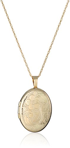14k Gold-Filled Heart Floral Engraved Locket Necklace, 18