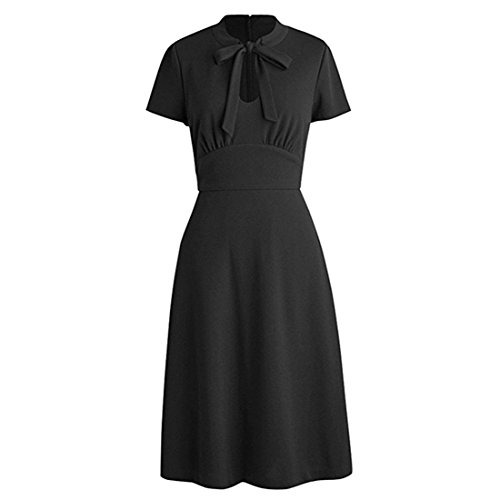 KUFEIUP Keyhole Bow Tie Front 30s 40s Vintage Dresses for Women Black XXL