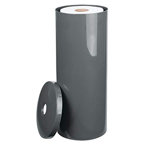 - mDesign Modern Plastic Toilet Tissue Paper Roll Holder Canister Stand with Lid - Vertical Bathroom Storage for 3 Rolls of Toilet Tissue - Holds Large Mega Rolls - Slate Gray