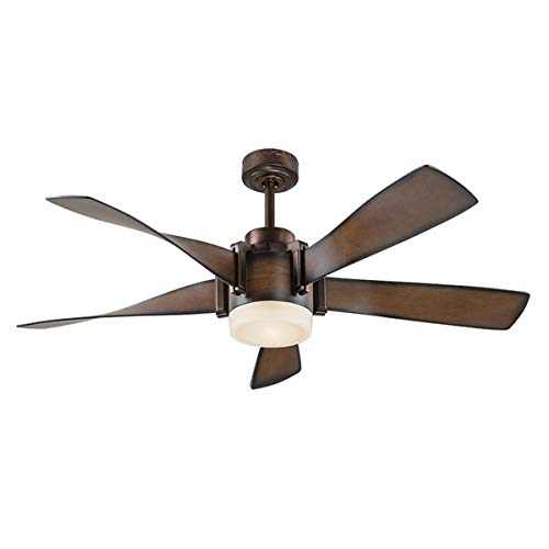 Kichler Lighting 52-in Mediterranean Walnut with Bronze Accents Downrod Mount Indoor Ceiling Fan with LED Light Kit and Remote