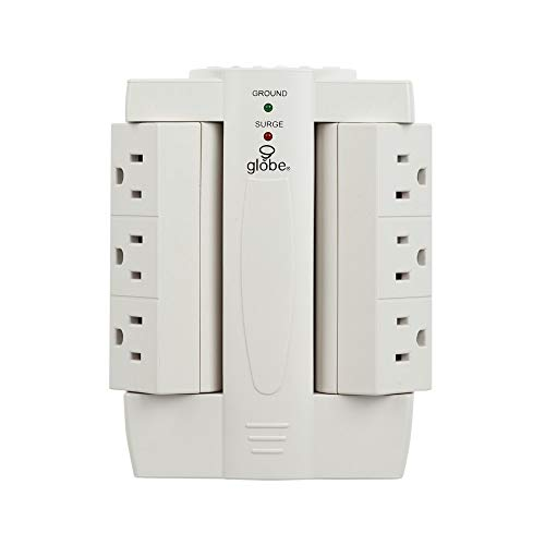Globe Electric 6-Outlet Swivel Space Saving Surge Protector Wall Tap 2-Pack, 1200 Joules, White Finish 78338