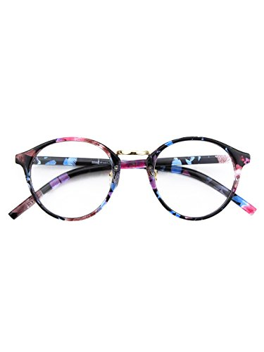 Happy Store CN65 Vintage Inspired Horned Rim Metal Bridge P3 UV400 Clear Lens Glasses,Mixed - Sunglass The Fake Store