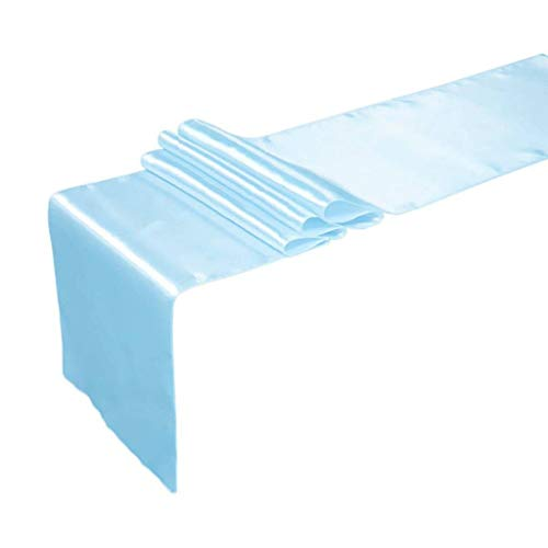 mds Pack of 10 Wedding 12 x 108 inch Satin Table Runner for Wedding Banquet Decoration- Baby Blue -