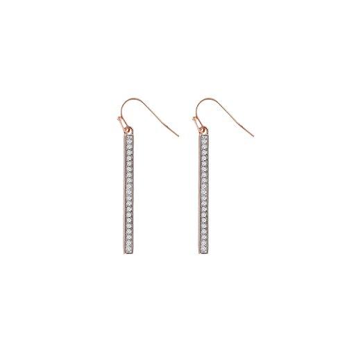 BallucciToosi Diamond Bar Earrings - Pave set 0.10 tcw Round Brilliant Cut -14 Karat Line Earring for Women- Nice Jewelry - Burch Tory Tennis