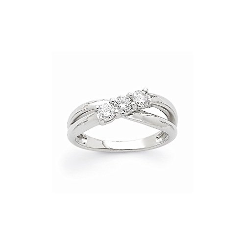 14k White Gold Semi-Mounting Aa Diamond Three Stone Ring, No Center Stone (3 Stone Diamond Ring Mounting)