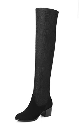 BalaMasa Ladies Non-Slipping Sole Kitten-Heels Hiking Frosted Boots Black U12wl0n