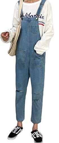 ディレイ石胴体ZhongJue(ジュージェン) レディース サロペット ジーンズ ゆったり ダメージ デニムパンツ オーバーオール オールインワン BF風 韓国ファッション ロングパンツ