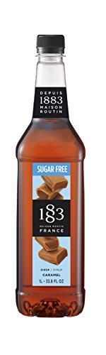 1883 Maison Routin - Caramel Sugar Free Syrup - Made in France - Pet Bottle | 1 Liter (33.8 oz)