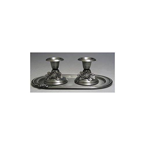 - 1 X Judaica Shabbat Pewter Candlesticks with Tray