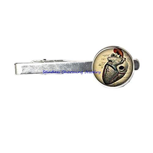 Anatomical Heart Brooch - Anatomical Heart Tie Clip, Anatomy Jewelry,Print Photo Tie Pin,, Tie Clip Gift Girlfriend Boyfriend Gift Best Friend Tie Clip-JP296 (C1)
